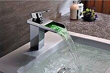 Europäischen Stil Retro-Waschbecken Wasserhahn LED-Farbe ändern LED intelligente kreative Becken Wasserhahn Becken Einlochmontage heiß und kalt Kupfer Waschbecken SLT