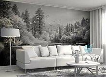 Europäischen Stil Schwarz-Weiß-Tapete Waldsee