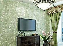Europäischen Vliestapete 3D-Beflockung Stereo Schlafzimmer Tapete Wohnzimmer Hintergrund Tapete Rolle 0,53m (52,8cm) * 10Mio. (32,8') = 5,3& # x33a1M; (M³), lichtgrün, 0.53m*10m