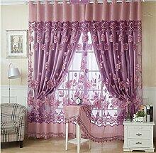 Europäischer Art-Vorhang-Farbton-Tuch-einfacher moderner Fußboden zur Decke Fenster alle Shading Schlafzimmer-Lichtschutz-Wohnzimmer-Vorhang (perforiert) ( farbe : # 2 , größe : 3.5*2.7m )