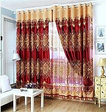 Europäischer Art-Vorhang-Farbton-Tuch-einfacher moderner Fußboden zur Decke Fenster alle Shading Schlafzimmer-Lichtschutz-Wohnzimmer-Vorhang (perforiert) ( farbe : # 5 , größe : 3.0*2.7m )