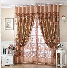 Europäischer Art-Vorhang-Farbton-Tuch-einfacher moderner Fußboden zur Decke Fenster alle Shading Schlafzimmer-Lichtschutz-Wohnzimmer-Vorhang (perforiert) ( farbe : # 3 , größe : 1.5*2.7m )
