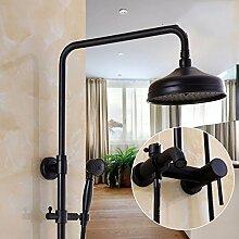 Europäischer Schwarz Aufgeladenes Badezimmer Mit Dusche Wasserhahn Voll Kupfer Wand-Brausegarnitur, B