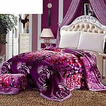 Europäischer Stil Blütenpflanzen Gestreift Polyester dicker Doppelschicht Sofadecken-I 150*200cm(59x79inch)