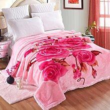 Europäischer Stil Blumen/Blumen dicker Doppelschicht Polyester Sofadecken-J 200x230cm(79x91inch)