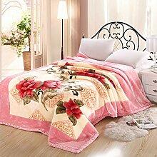 Europäischer Stil Blumen/Blumen dicker Doppelschicht Polyester Sofadecken-D 200x230cm(79x91inch)