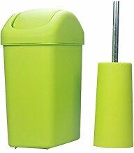 Europäischer Stil Grünes Schütteln der rechteckigen Mülleimer mit einer Toilettenbürste Mode Kreatives Wohnzimmer Badezimmer Abgedeckter Mülleimer 6L Kreativ