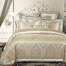 Europäischer Stil Heimtextilien Baumwolle Satin Jacquard 4 Sätze von Bettwäsche (1 Bettwäsche + 1 Steppdecke + 2 Kissenbezüge) , M , 2.0m bed