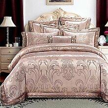 Europäischer Stil Heimtextilien Baumwolle Satin Jacquard 4 Sätze von Bettwäsche (1 Bettwäsche + 1 Steppdecke + 2 Kissenbezüge) , S , 2.0m bed