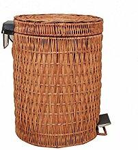 Europäischer Stil Rattan Artikel von Handmade Mülleimer Zuhause Wohnzimmer Badezimmer Kreativ Mit Abdeckung Pedal Mülleimer-C Kreativ ( Farbe : A , größe : 8L )