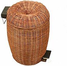 Europäischer Stil Rattan Artikel von Handmade Mülleimer Zuhause Wohnzimmer Badezimmer Kreativ Mit Abdeckung Pedal Mülleimer-A Kreativ ( Farbe : 12L )