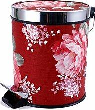 Europäischer Stil Red + Hibiscus Pedal Mülleimer Mode Creative Mülleimer Küche Bad mit Abdeckung Fuß Mülleimer 15L Kreativ