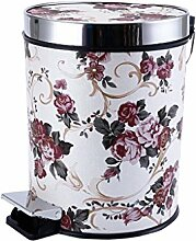 Europäischer Stil Weiß + Rosa Blumen Pedal Mülleimer Mode Kreativ Mülleimer Küche Bad Mit Abdeckung Fuß Mülleimer 15L Kreativ