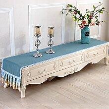Europäischer Tv-schrank Tisch Tuch,Lace Tisch Tuch Baumwolle Leinen Tischtuch-A 45x210cm(18x83inch)