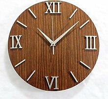 Europäisches dekoratives Holz Wanduhr DIY Stereo , 12 inches