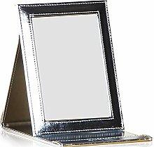 europäisches Leder Spiegel/Spiegel/Desktop tragbare Handspiegel/klappbare Spiegel/Prinzessin Queen-Mini-Spiegel-F