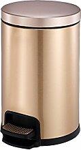 European 430 Edelstahl Pedal Mülleimer Haushalt Kreativ Stumm mit Abdeckung Müll kann (Kapazität: 5L / 8L / 12L) ( Farbe : Champagner - gold , größe : 12L )