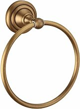 European Antique Brushed Copper Handtuch Ring Low-Key-Luxus-Handtuchhalter Kreis Handtuchhalter Badezimmer Ring Hanging Ring Hardware Bad-Accessoires