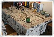 European Fashion-Tour StyleEiffel Leinen und Baumwolle Tischdecke Muster Isolationsfleckabweisend Leicht waschbar Spitzetischdecke Picknick zu reinigen, 56 Zoll von 88 Zoll