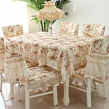 European pastoral style tablecloth lace macrame skirt chiffon flower table cover-B 130*180cm(51x71inch)