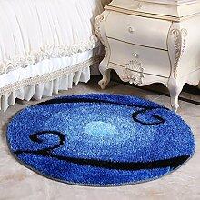 European Round Blue Mittelmeer Teppich, Wohnzimmer Schlafzimmer Teppich, Computer Stuhl Schwenkkorb Korb , 1 , diameter 120cm