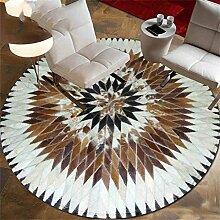 European RoundCarpet Natural Spleißen Circular Teppich Wohnzimmer Sofa Couchtisch Matten Schlafzimmer Bedside Zelt Teppich Korb Drehstuhl Ruhige Hocker Computer Stuhl Kissen ( größe : Diameter110cm )