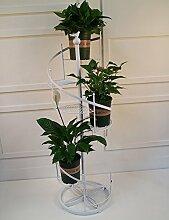 European-Stil Blumenständer drehen die Treppen mehrschichtige Blumenregal Eisen Bonsai Regal weiß