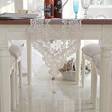 European-style Black Lace Tabelle Tischläufer,Couchtisch Tisch Läufer Schubladen Bedeckt Handtuch,Beige Tischdecke-A 30x280cm(12x110inch)