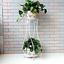 European-style Eisen-Blumen-Racks Indoor-und Outdoor-Pflanzen Regale Balkon Wohnzimmer Blumentopf Display Stand ( Farbe : Weiß , größe : 26*23*80cm )