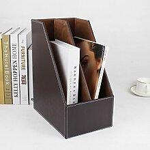 European Style File Shelf Leder Desktop Aufbewahrungsbox Briefpapier Bürobedarf Shelf Finishing Box, Kaffee, 18 * 27 * 34Cm