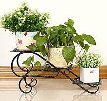 European Style Iron Mehrere Ebenen Flower Racks Balkon Standing Chlorophytum Blumentopf Rack Wohnzimmer Multifunktion Rost nicht bis zu 50 Kg ( Farbe : Schwarz )