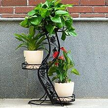 European Style Iron Mehrere Ebenen Standing Multifunctional Flower Racks (Garden Enthusiasts Love) ( Farbe : Schwarz )