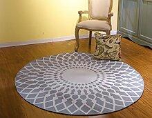 European Style Schwarz-Weiß-Runde Teppich Wohnzimmer Couchtisch Sofa Schlafzimmer Nachttisch Teppich ( Farbe : Grau , größe : 120 )