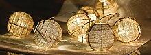 Eurosell - Handgefertigt - Canvas Kugel Design Mini 10 LED Lichterkette - Akku / Batterie betrieben - Weihnachten Weihnachts Deko Tannenbaum Beleuchtung Licht - Handmade Retro Leuchtkugel Leuchtkugeln