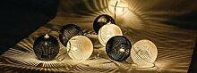 Eurosell - Handgefertigt - Kugel Design Mini 10 LED Lichterkette - Akku / Batterie betrieben - Weihnachten Weihnachts Deko Tannenbaum Beleuchtung Licht - Handmade modern Leuchtkugel Leuchtkugeln