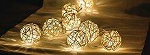 Eurosell - Handgefertigt - Lichter Kette Kugel Design Mini 10 LED Lichterkette - Akku / Batterie betrieben - Weihnachten Weihnachts Deko Tannenbaum Beleuchtung Licht - Handmade modern Leuchtkugel Leuchtkugeln