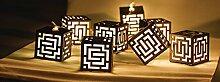 Eurosell - Handgefertigt - Würfel Cube Design Mini 10 LED Lichterkette - Akku / Batterie betrieben - Weihnachten Weihnachts Deko Tannenbaum Beleuchtung Licht - Handmade modern Kubus Würfel