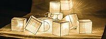 Eurosell - Handgefertigt - Würfel Cube Design Mini 10 LED Lichterkette - Akku / Batterie betrieben - Weihnachten Weihnachts Deko Tannenbaum Beleuchtung Licht - Handmade modern