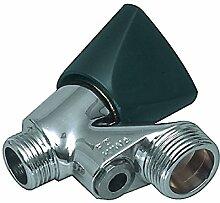 Eurosell Profi Geräteanschlußventil mit Belüfter 1/2 Zoll Anschluss Ventil Wasserhahn silber schwarz