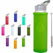 Eveau Glas-Trinkflasche mit Strohhalm-Deckel, Kiwi