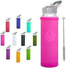 Eveau Wasserflasche aus Glas mit Strohhalm-Deckel,