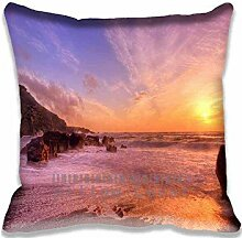 Evening Seascape Sunset Pillow Case Sofa Waist Throw Cushion Cover Home D¨¦cor 18x18(2 Sides)