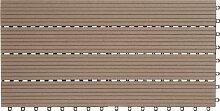 EVERFLOOR WPC Bambusholz/Kunststoff Terrassenfliesen Bodenfliese 6-er Set, 1.08 m², 60 x 30 cm, braun, leicht verlegbar, wetterfes