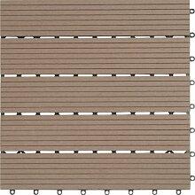 EVERFLOOR WPC Bambusholz/Kunststoff Terrassenfliesen Bodenfliese 6-er Set, 0.96 m², 40 x 40 cm, braun, leicht verlegbar, wetterfes