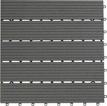 EVERFLOOR WPC Bambusholz/Kunststoff Terrassenfliesen Bodenfliese 6-er Set, 0.96 m², 40 x 40 cm, dunkelgrau, leicht verlegbar, wetterfes