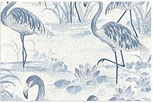 Everglades Fußmatte, PVC, blaue Flamingo-Tapete,