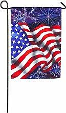 Evergreen 4. Juli Flagge Satin Garten Flagge,
