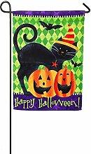 Evergreen Halloween Katze Wildleder Garten Flagge,