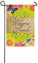 Evergreen Welcome Friends Wildleder Garten Flagge,