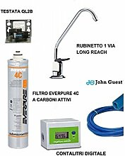 Everpure 4 C + Digitaler Durchflussmesser + Filtersystem Wasserhahn 1 VIA LONG REACH